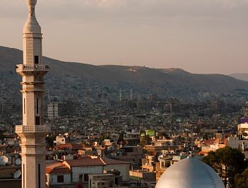 View of mosque minaret and dome in Damascus, Syria